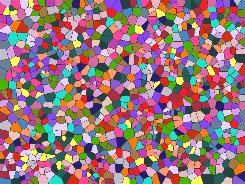 Voronoi diagram with colors applied randomely like stained glass